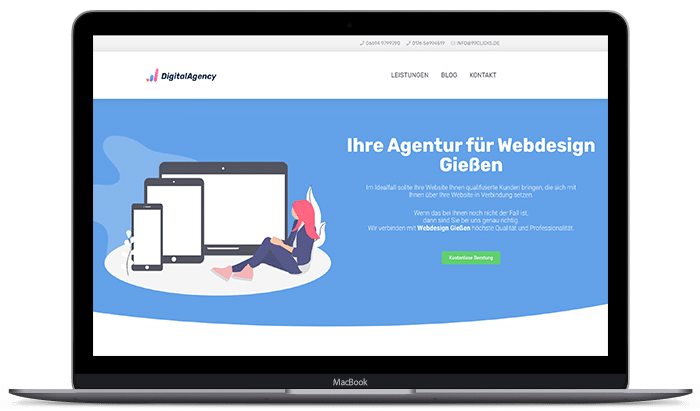 Webdesign Bild in Macbook Mockup Digitalagentur Webdesign Agentur 99clicks